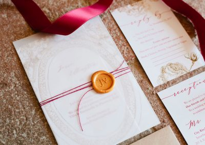 Vibrant red intimate wedding in Florence